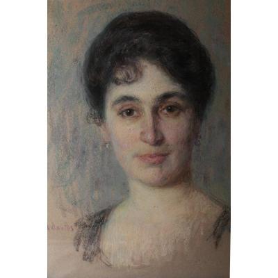 Pastel Portrait De Femme Signé André Davis (né En 1870)