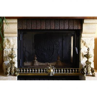 Pair Of Andirons And Bar Fireplace Gilt Bronze 19th Century