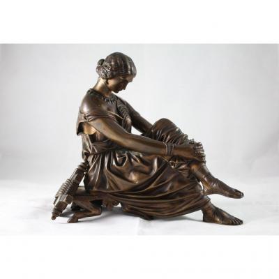 """Sculpture En Bronze """"Sappho"""" par James Pradier (1790-1852), fonderie Susse et Frères"""