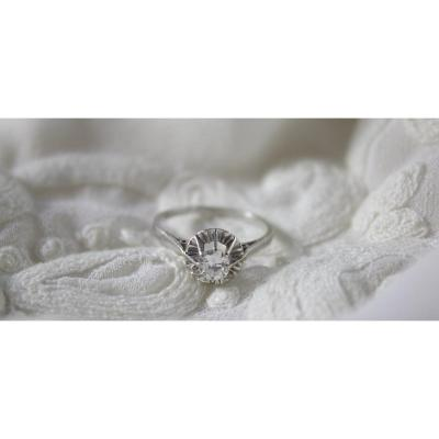 Solitaire Ring In 18k White Gold And Diamond, Size 51
