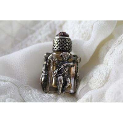 Miniature Glass Perfume Bottle And Silver Frame 'cupid' Period Late 19th Century