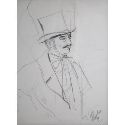Pencil Drawing 'portrait Of A Man In A Top Hat' Jean-baptiste Valadié (born In 1933)