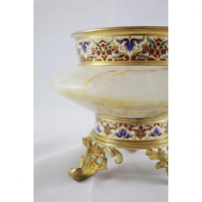 Coupe En Bronze Doré Et émaux Cloisonnés, époque Fin 19ème Siècle