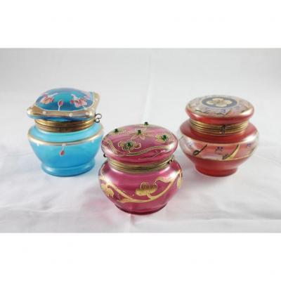 3 Colored Blown And Enamelled Glass Boxes Late 19th Century