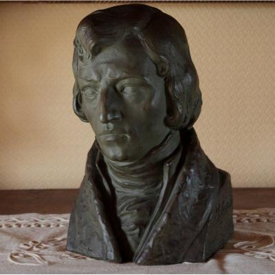 Terracotta Sculpture 'portrait Of Frédéric Chopin' By Marcel Bouraine (1886-1948)