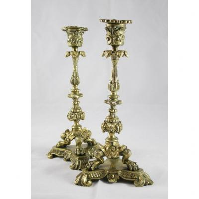 Pair Of Neo-gothic Style Bronze Candlesticks Late 19th Century