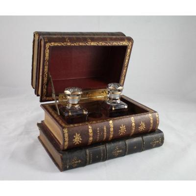 Boîte Imitation Livres Avec 2 Flacons En Verre époque Début 20ème Siècle