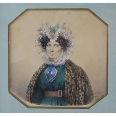 Miniature On Paper Portrait Of Woman Signed 'pasquier 1830'