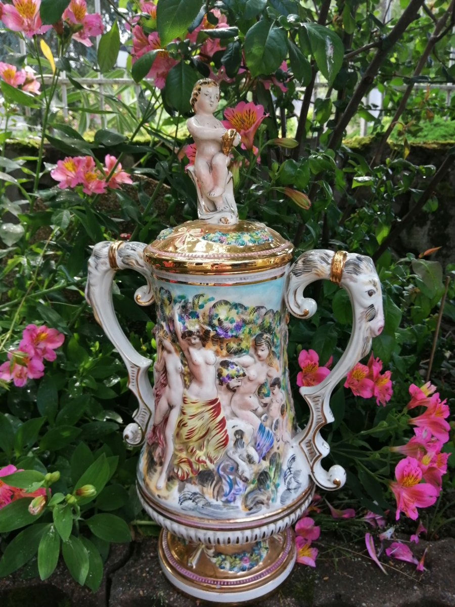 Covered Porcelain Pot Capodimonte