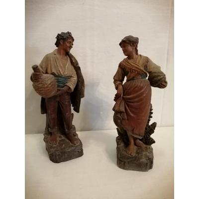 Pair Of Polychrome Terracotta Characters.