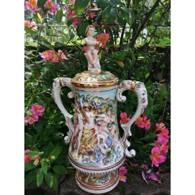 Covered Porcelain Pot Capodimonte