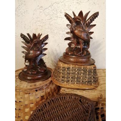 Paire De sculptures Forêt Noire 19ème