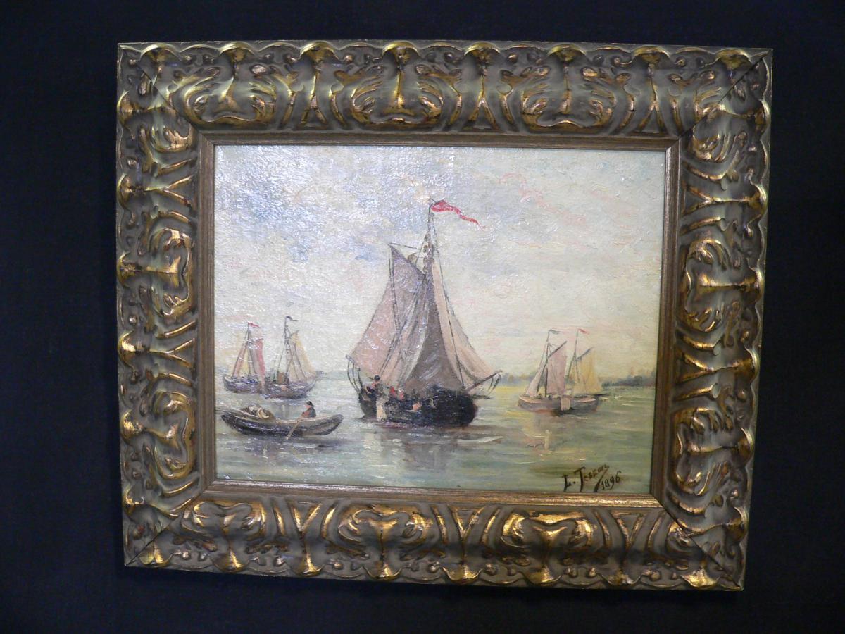 Marine Huile Sur Toile Luc Tesson 1896