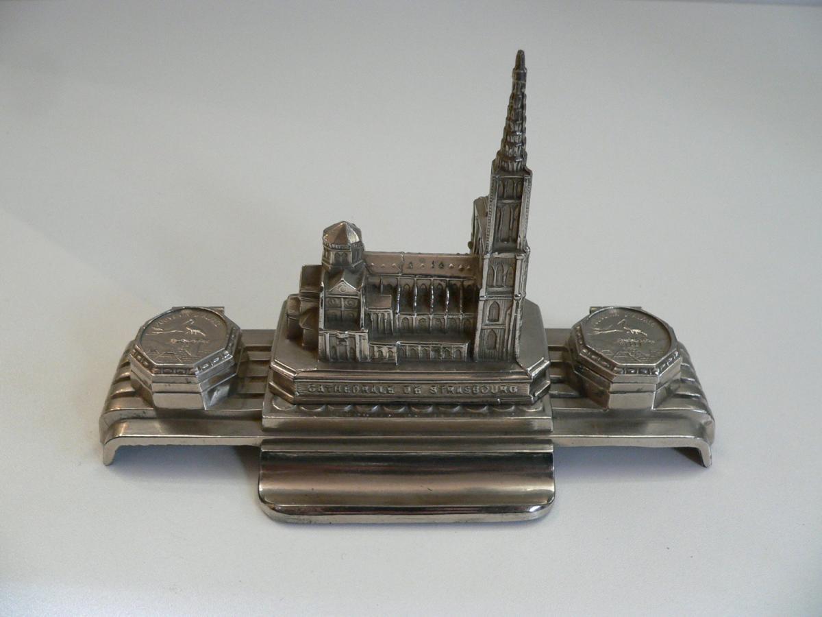 Encrier Art Déco Représentant La Cathédrale De Strasbourg