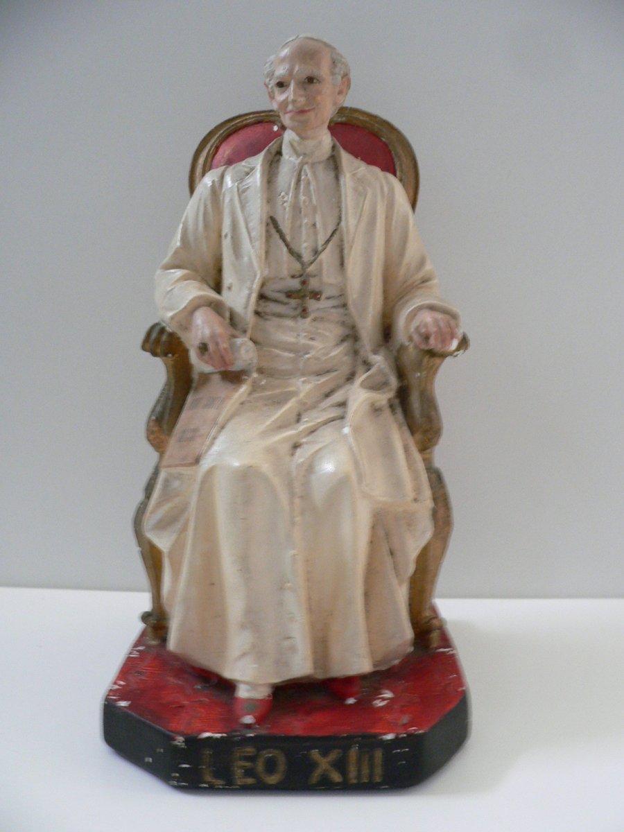 Statuette En Plâtre XIX ème Représentant Le Pape Léon III