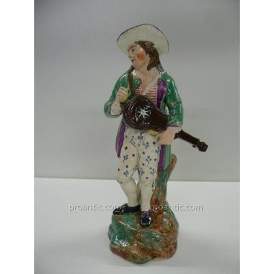 Statuette Au Joueur De Vielle En Faïence De Hoetch XVIII ème