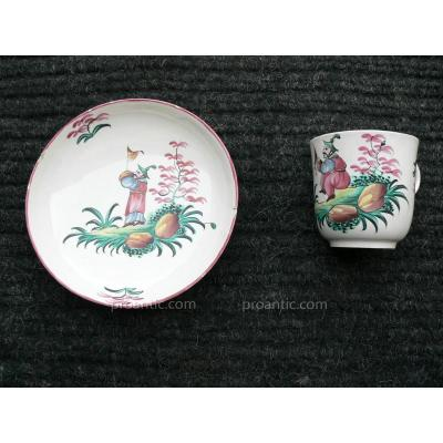 Cup And Under Cup Decor Chinese Luneville XVIII