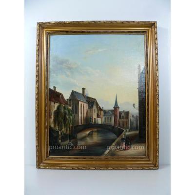 H.S.T. Représentant Une Vue Du Centre Ville De Bruges Aux XIXème