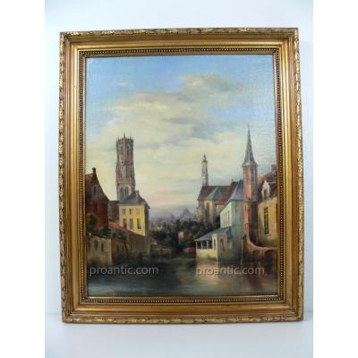 H.S.T. Représentant Une Vue du Centre Ville De Bruges Aux XIX ème