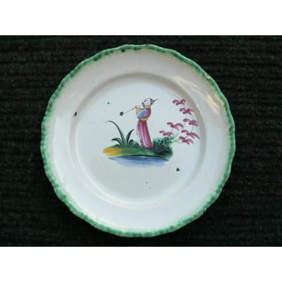 Earthenware Plate Nineteenth Rambervillers Representative A Chinese Smoking Pipe.