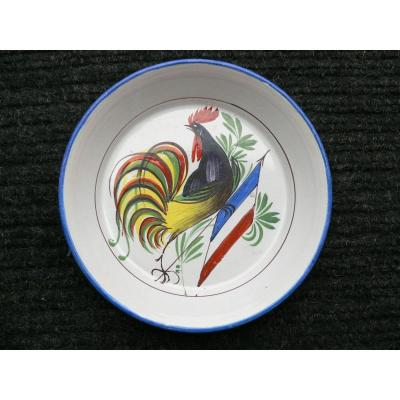 Bowl With Decor Of A Rooster At Flag Tricolore Waly Nineteenth