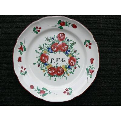 Earthenware Earthenware Plate Islettes Nineteenth
