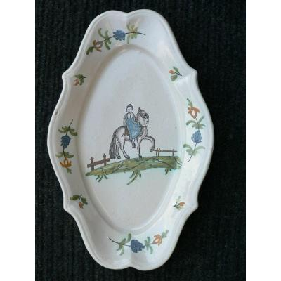 Oval Dish In Earthenware From South West Representing A Rider