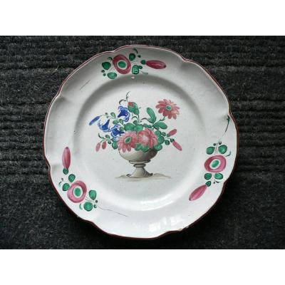 Les Islettes XIXth Plate Decor With A Flower Cup