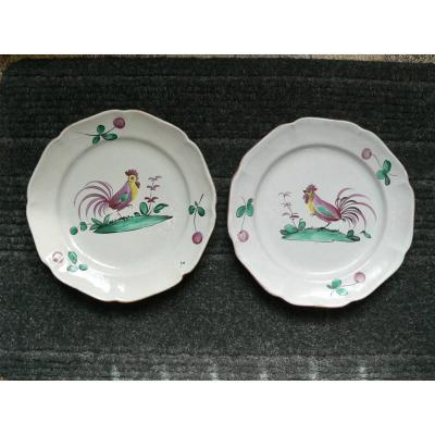 Pair Of Luneville Rooster Plates XIXth