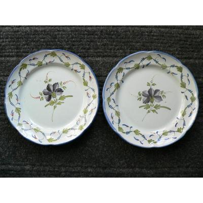 Epinal XIXth Pair Of Earthenware Plates With Floral Decor