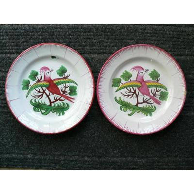 Les Islettes XIXth Pair Of Plates With Parakeets