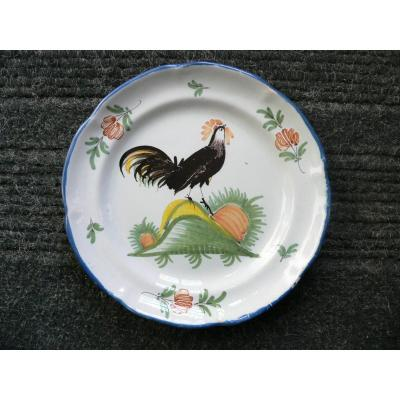 Earthenware Plate From Waly XIXth Rooster Decor
