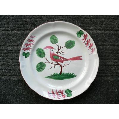 Les Islettes XIXth Plate Decorated With A Trendy Parakeet