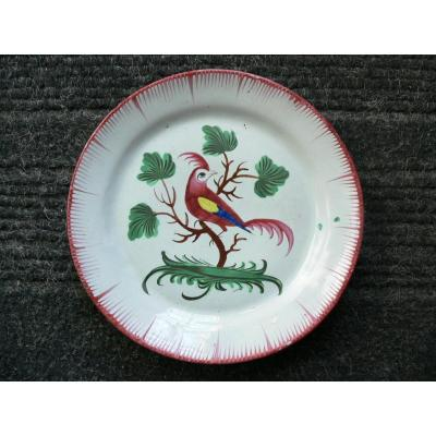 Les Islettes XIXth Plate With Decor Of A Parakeet