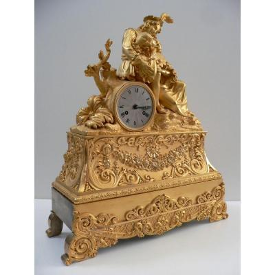 Grande Pendule En Bronze Doré  Début  XIXème