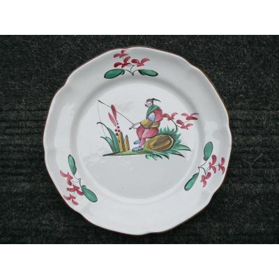 19th Century Earthenware Plate With Chinese Decor