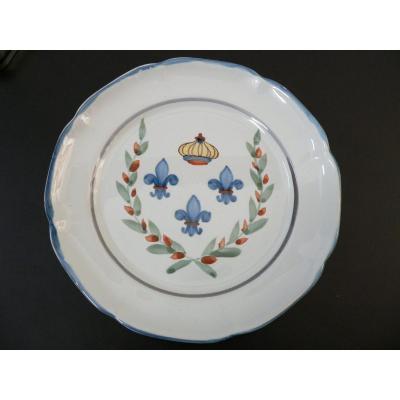 Assiette En Faïence De Waly XIXème Décor Aux Trois Fleurs De Lys Couronnées