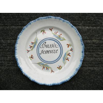 Assiette En Faïence Patronymique Waly XIXème
