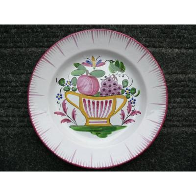 19th Century Islettes Earthenware Plate Representing A Fruit Bowl