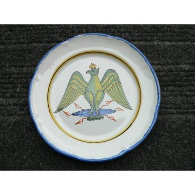 Assiette En Faïence De Waly XIXème à Décor d'Un Aigle Couronné .