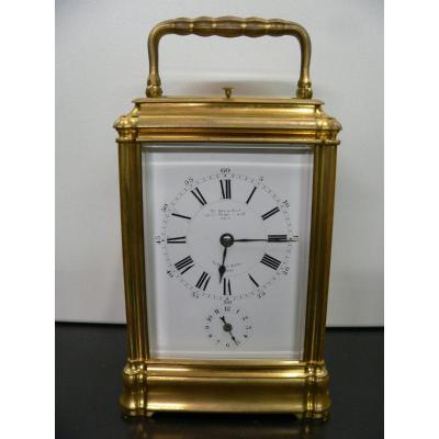 Large Ringing Officer Travel Clock Signed Le Roy Et Fils