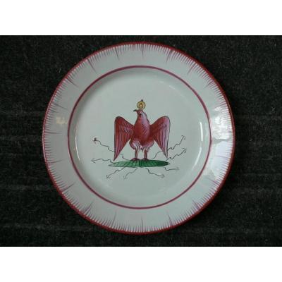 Assiette En Faïence Des Islettes XIXème  Décor à  l'Aigle Couronné