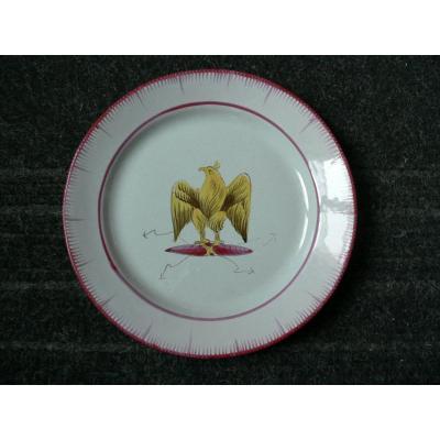 Assiette En Faïence Des Islettes XIXème  Décor à  l'Aigle