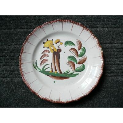 Plate In Earthenware Of Islettes XIXth Madame Bernard Au Tambourine