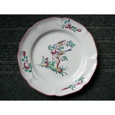Assiette En Faïence De Toulouse XVIIIème Décor Dun Couple d'Oiseaux Branchées
