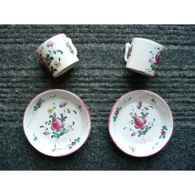 Pair Of Eighteenth Moustiers Ferrat Earthenware Cups And Saucers