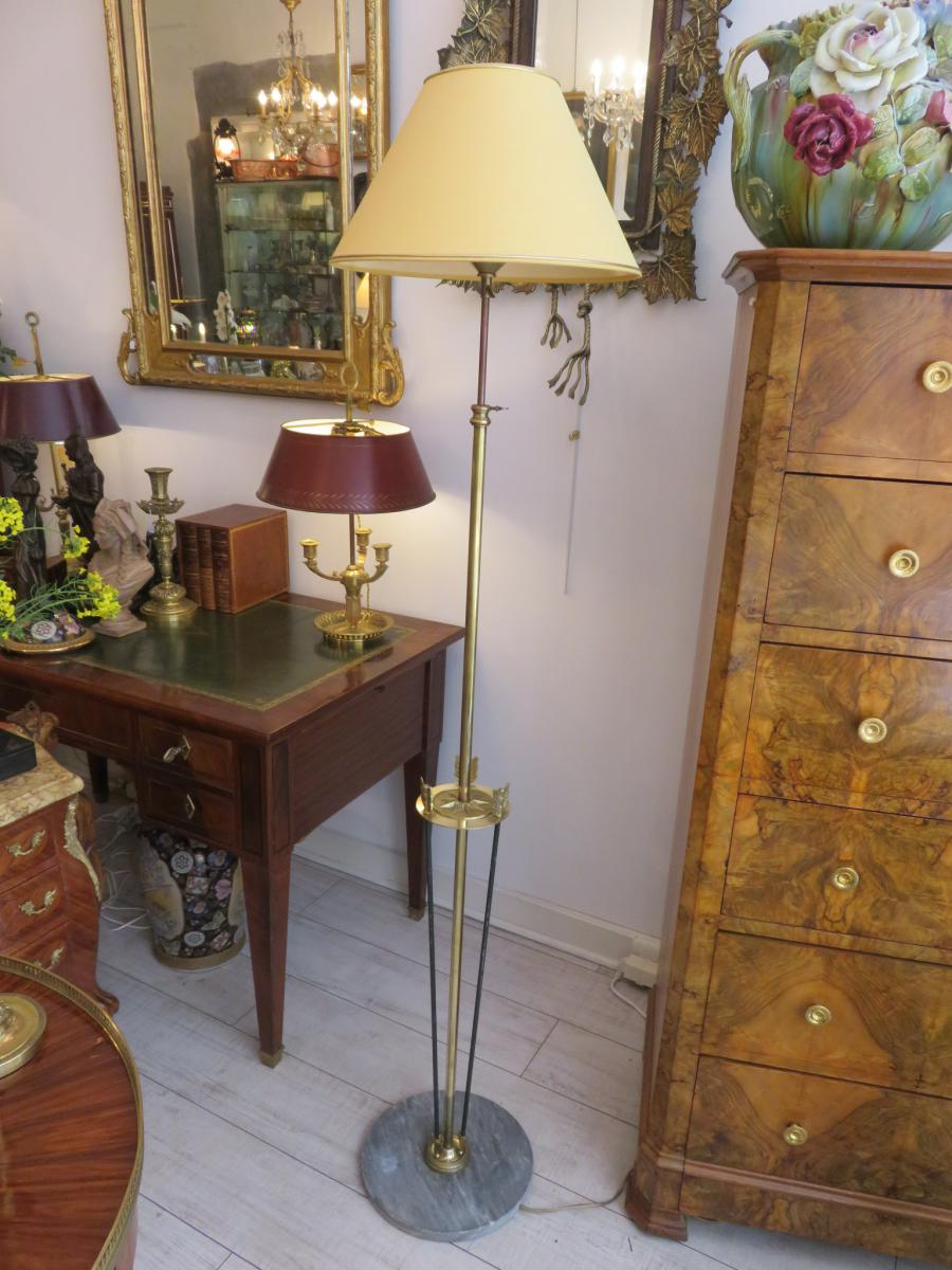 Lampadaire En Marbre ,laiton Et Bronze à Trois Flèches  XX