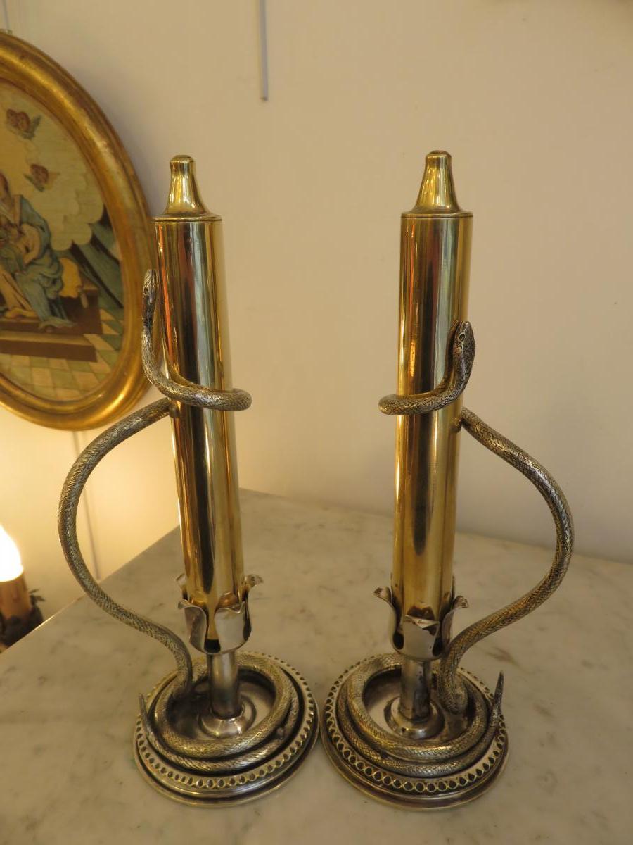Paire De Bougeoirs En Bronze Argenté Et En Laiton ,décor De Serpents XIX ème
