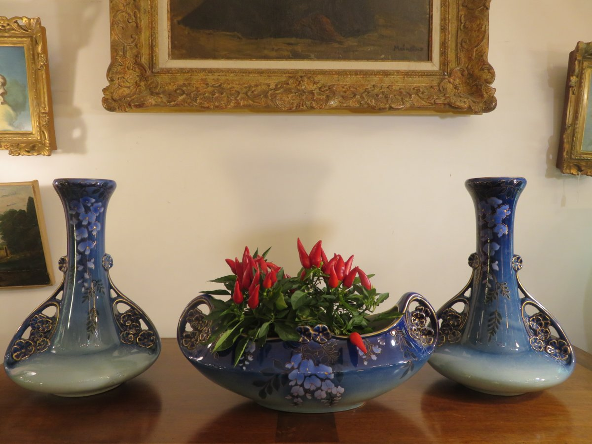 Garniture: A Planter And Two Vases, Art Nouveau, Faience De Lunéville (k. & G)