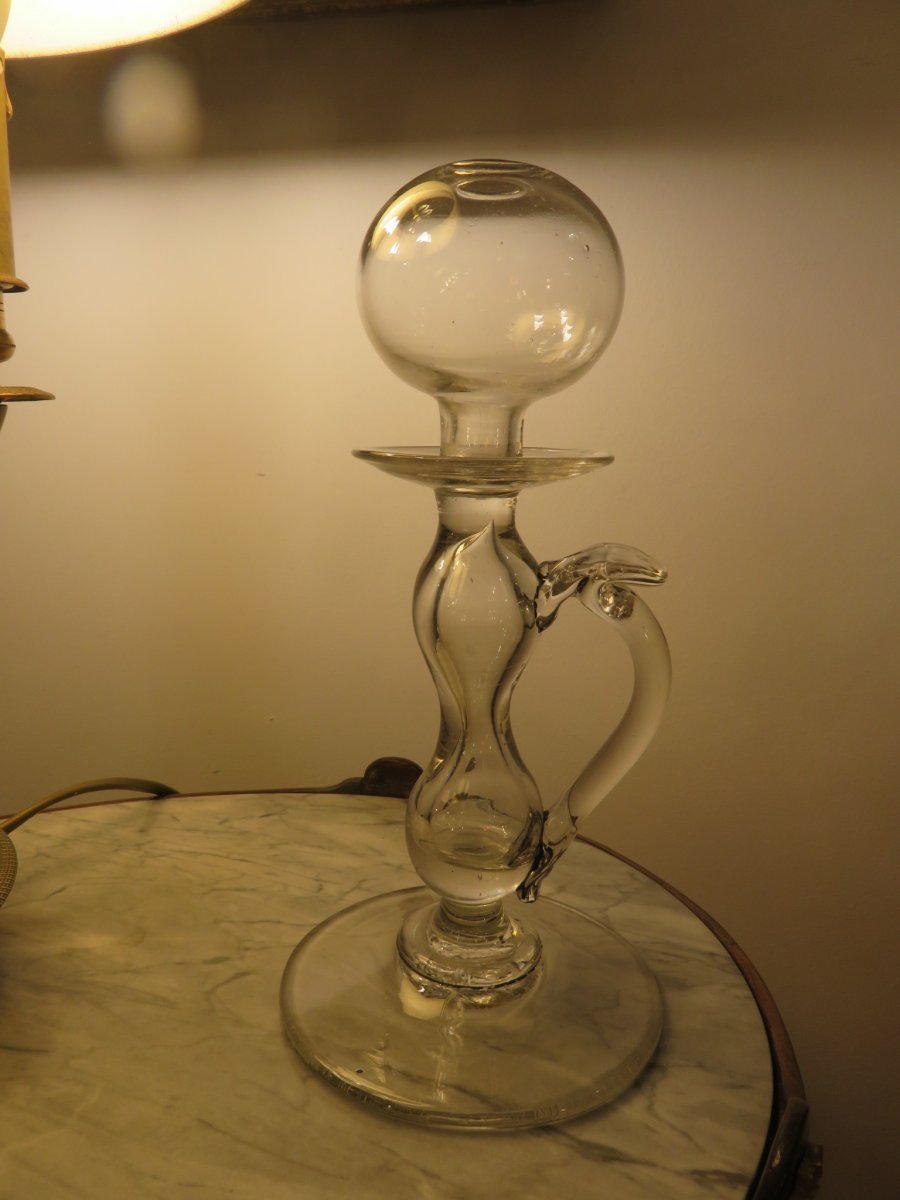 Blown Glass Oil Lamp From Lacemaker XIX